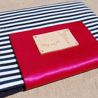 13'' MacBook Air or 13'' MacBook Pro laptop sleeve,Hot pink silk with Navy case for laptop , Gift for him or her.Handmade 13 inch laptop bag