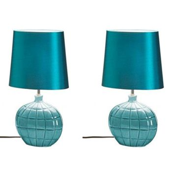 Two (Pair) Gallant Blue Modern Decorated Table Lamps Coastal Decor
