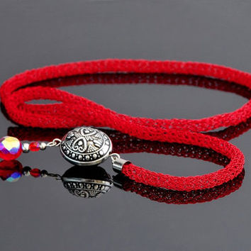 Lariat Necklace, Wire Crochet Long Necklace, Red Y Necklace with Beads