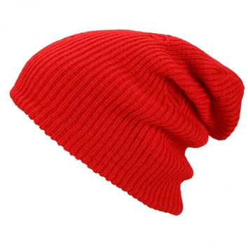 Vintage Style Unisex Adult Men Women Warm Winter Knit Ski Beanie Slouchy Soft Solid Cap Crochet Oversize Baggy Hat