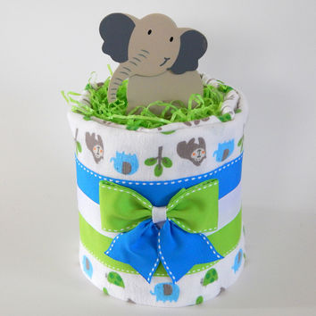 Elephant Jungle Diaper Cake for Baby Shower Theme Gift