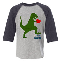 Kids Valentine Shirt, Toddler Boys Valentine Outfit, Love Bites Shirt, Dinosaur Valentine Tshirt, Youth Raglan Shirt, Mens Valentine's Day