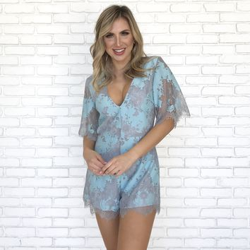Skies Are Blue Lace Romper