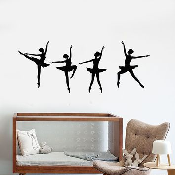 Vinyl Wall Decal Ballerinas Dancers Ballet Studio Dancing Stickers (2606ig)