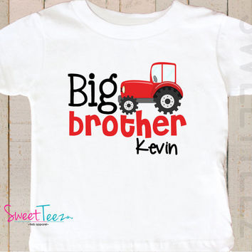 Big Brother Shirt Red Tractor little brother shirt  Biggest Brother Sibling Announcement Personalized  Name Boy Shirt