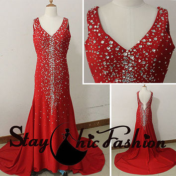 Sexy Red V Neck Sparkly Beaded Long Jersey Formal Dress with Sweep Train,Crystal Stones Beaded Low V Back Red Evening Prom Gown 2015