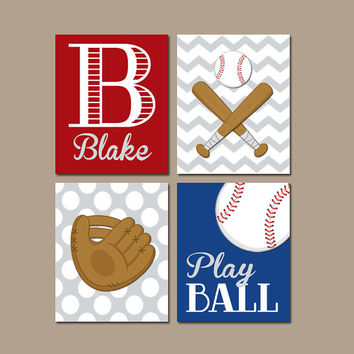 BASEBALL Wall Art  Canvas or Prints Baby Boy Nursery Wall Art Boy Bedroom Boy Boy Name Ball Glove Bat Play Ball Set of 4 Baseball Theme