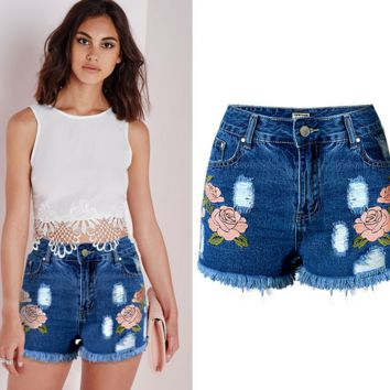 3D Ripped Flower Hole Wash Denim Lace Jeans Shorts Pants