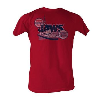 Jaws Tall T-Shirt Distressed Orca Boat 75 Red Tee