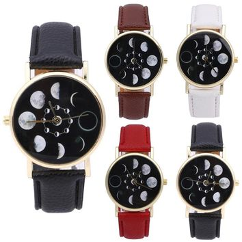 Eclipse Stylish Fashion Women Phase Moon Lunar Watch Change Bracelet Design Clock Leather Quartz Wrist Watch relogio masculino