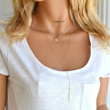 Layered Choker Necklace, Bar Drop, Bar Necklace Personalized, Tiny Disc Necklace, Long Y necklace, Personalized Jewelry gold or Silver