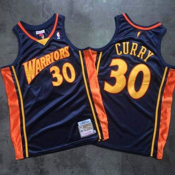 DCCK 2009-10 Mitchell & Ness Warrior 30 Curry Black Basketball NBA Jerseys