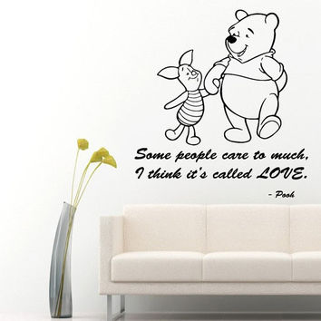 Wall Decals Vinyl Decal Winnie the Pooh Quote Some People Care Too Much ..Cartoon Home Vinyl Decal Sticker Kids Nursery Baby Room Decor kk89