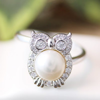 Crystal Pearl Owl Ring Women's Animal Bird Ring Jewelry Adjustable Free Size Wrap Ring gift idea