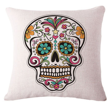 Mexican Sugar Skull Pillow Cover