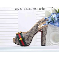 """Hot Sale """"Gucci"""" Popular Ladies Princess Small Bee Embroidery High Heels High-Heeled Shoes Sandals I-KSPJ-BBDL"""
