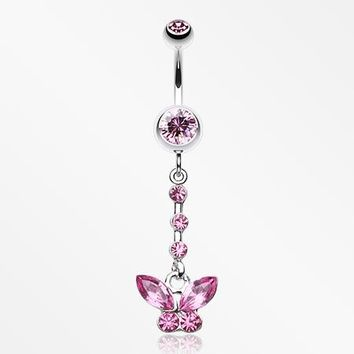 Butterfly Sparkly Belly Button Ring
