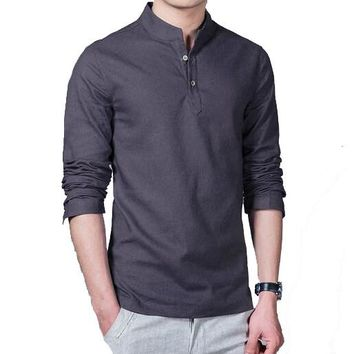 Men's — Korean Style Long-Sleeve Cotton Linen Casual Shirt