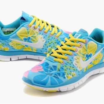 """NIKE"" Women's Trending Fashion Casual Flower Print Blue Sports Shoes"