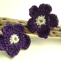 Violet earrings - Lace Fashion - Spring Fashion Earrings - Elegant Floral earrings - Nature lovers gift idea - Victorian Crochet