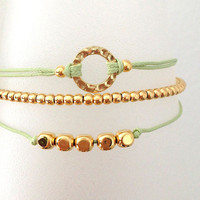 Triple Gold and Light Green Friendship Bracelet with Adjustable Cord