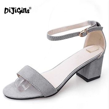 Women Summer Sandals Open Toe Thick Heel Gladiator Shoes