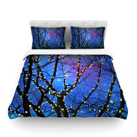 """Sylvia Cook """"Holiday Lights"""" Christmas Cotton Duvet Cover"""