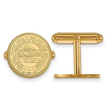 NCAA 14k Gold Plated Silver West Virginia University Crest Cuff Links