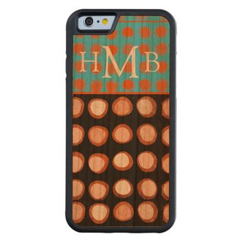 monogram artistic dot pattern on wood case carved® cherry iPhone 6 bumper
