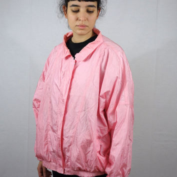 Vintage 80s Pink Sport Jacket Sportwear Windbreaker Pastel Men Mens Women Womens Large L