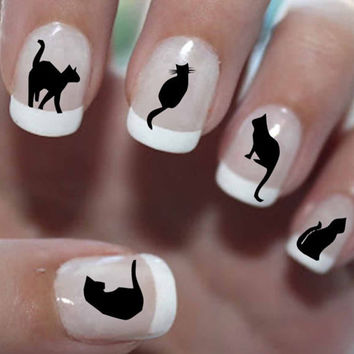 51 DECALS Black Cats 1 - Familiar Symbols - Nail WRAPS Nail Art Water Slide Transfers Wiccan