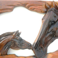 "Natural Old Teak Wood Carving Carved Horse Head Hand Carved Wall Hanging  Art Home Decor / Gift 25.5""X11"""