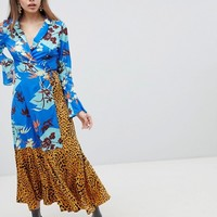 ASOS DESIGN Mix Print Wrap Maxi Dress With Fluted Sleeve at asos.com