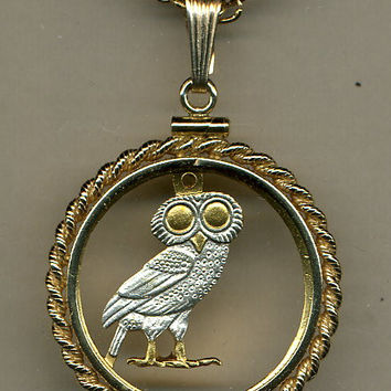 Stunning Greek  Owl - GOLD & SILVER coin cut outs  IN Gold Filled Bezels
