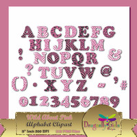 "80% OFF Sale WILD About Pink Alphabet, 5""  Digital Scrapbooking, Instant Download, Printable, Commercial use, Patterns"