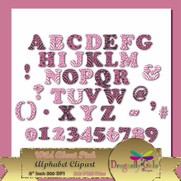"""80% OFF Sale WILD About Pink Alphabet, 5""""  Digital Scrapbooking, Instant Download, Printable, Commercial use, Patterns"""