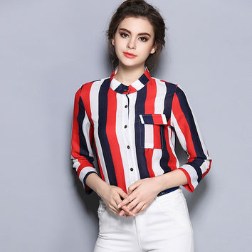 Long-Sleeve Striped Blouse
