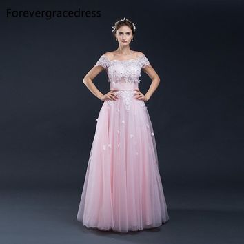 Forevergracedress New Off The Shoulder Prom Dress 2017 Sexy Applique Sashes Long Formal Party Gown Plus Size Custom Made