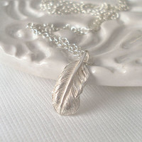 Sterling Silver Tiny Feather Necklace