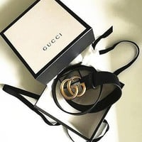 One-nice™ GUCCI Woman Fashion Smooth Buckle Belt Leather Belt