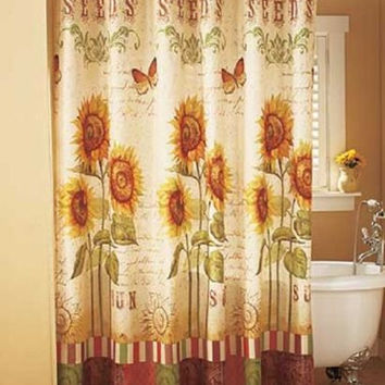 Sunflower Butterfly Shower Curtain & Hooks Country Cottage Bathroom Yellow NEW