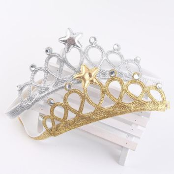 Kids Girl Princess Crown Headband Glitter Felt Vintage Gold Silver Tiara Hairbands Birthday Gift Party Head Accessory Head Wear
