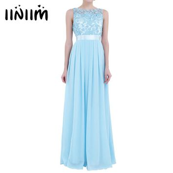 8 Color Women Ladies Embroidered Chiffon Dress Birthday Party Weeding Long Dresses Nice Prom Gown Formal Dress Party Maxi Dress