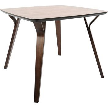 Folia Mid-Century Modern Dining Table, Walnut