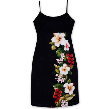 Paradise Black Short Hawaiian Dress with Skinny Straps