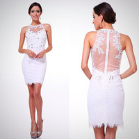 Short Illusion Yolk Lace Sheath Dress Wedding, Cocktail, Bridal Shower