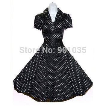 Free Shipping Rockabilly Vintage Swing Work Dress 40s 50s Retro Emo Pin Up Plus