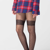 Polka Dots & Lace Black Tights
