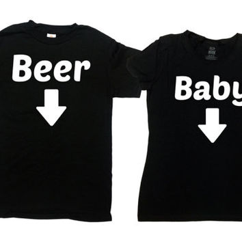 Expecting Parents To Be Matching T Shirts Pregnancy Couples Gift Expecting Mother New Dad TShirt Baby Announcement Beer Baby SA740-741