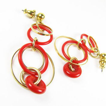 Vintage Red and Gold Earrings with Hoops / Vintage Boho Earrings - Boucles d'Oreilles.